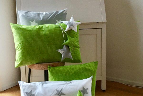Kissen, Sterne, weiss, grün, ©Grossstadtindianer, Sabrina Blaser